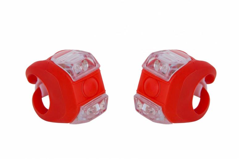 Мигалка 2шт FT205D белый+красный свет 3w LED, силиконовый (черный корпус)