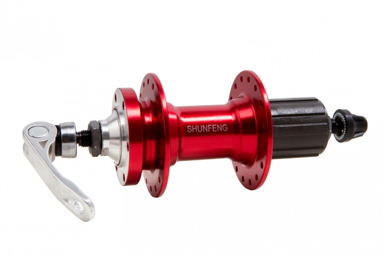 Втулка задняя AL 32H под диск. SHUNFENG SF-A217R красный с эксцентр. пром. подшипн. под кассету 8-9-10