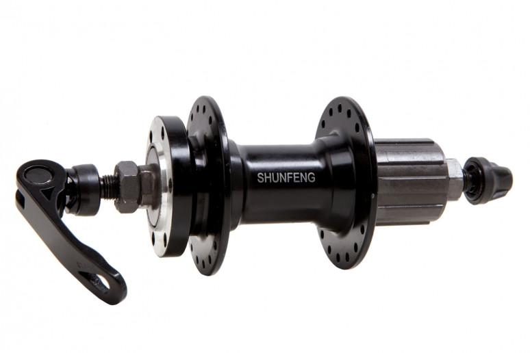 Втулка задняя AL 36H под диск. SHUNFENG SF-A262R черн. с эксцентр. под кассету 7