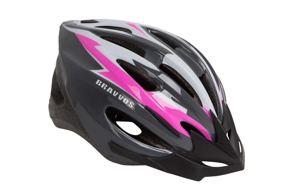 Фото Шлем велосипедный HEL128 черно-бело-розовый (черно-бело-розовый) с официального сайта OSKAR™