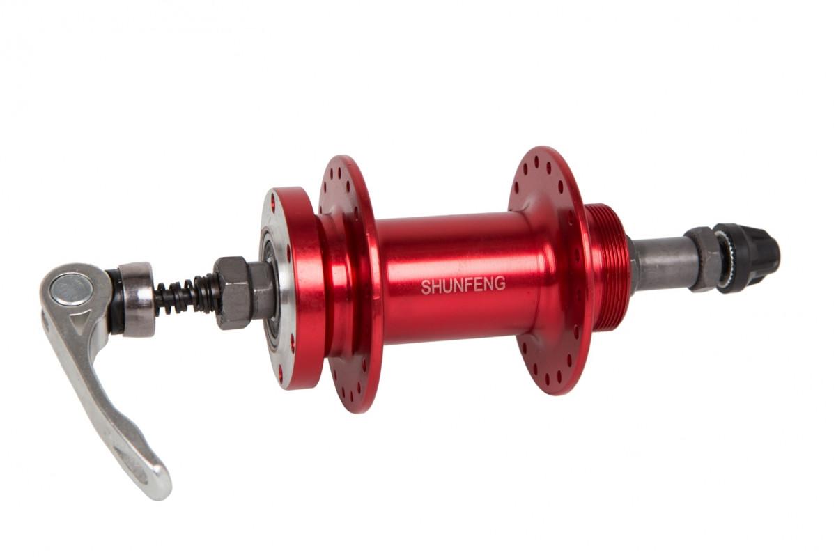 Фото Втулка задняя AL 36H под диск. SHUNFENG SF-A210R красный с эксцентр. пром. подшипн. под трещетку с официального сайта OSKAR™
