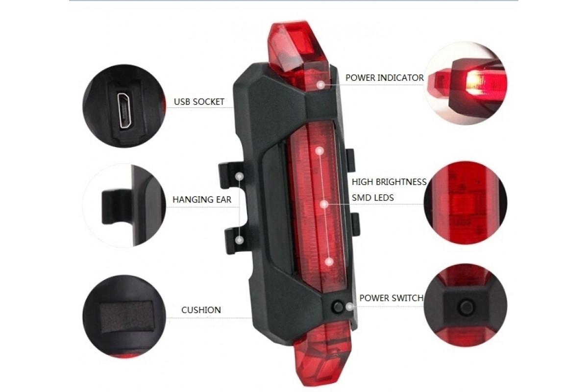 Фото Фонарь габаритный задний BC-TL5411 5 светодиодов USB (красный) с официального сайта OSKAR™