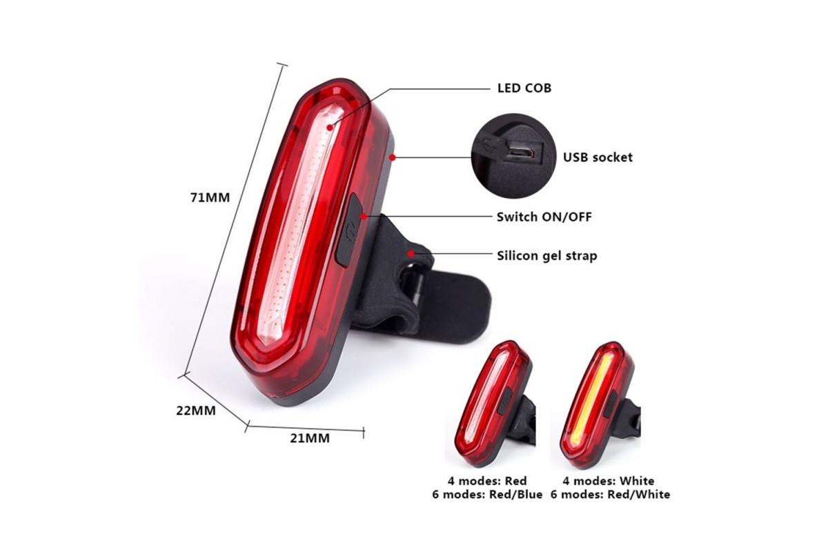 Фото Фонарь габаритный задний (стекло) BC-TL5434 LED, USB, (красный) с официального сайта OSKAR™