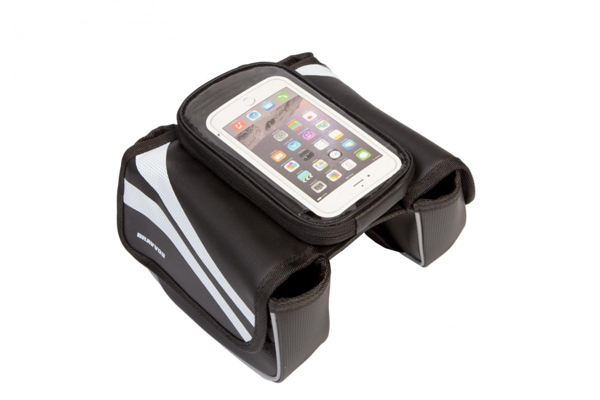 Фото Велосумка на раму, с отделением под смартфон черный с белой полосой QIJian QJ-002 с официального сайта OSKAR™