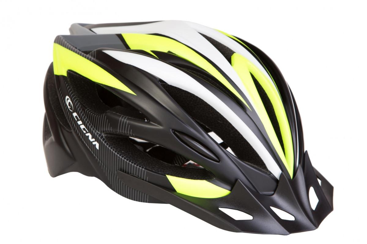 Фото Шлем велосипедный с козырьком CIGNA WT-068 черно-красный (черно-бело-салатный) с официального сайта OSKAR™