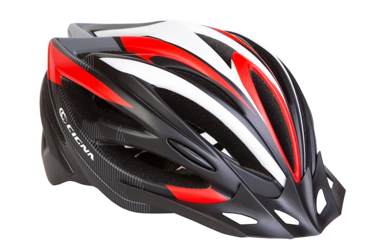 Фото Шлем велосипедный с козырьком СIGNA WT-068 черно-бело-красный (черно-бело-красный) с официального сайта OSKAR™