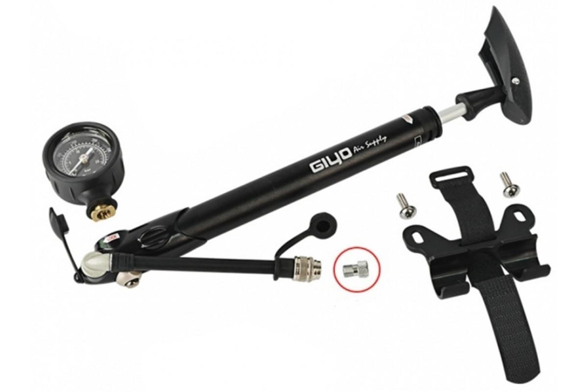 Фото Насос трансформер AV/FV для колес и вилок GIYO GS-41D с манометром (300psi) AL (серый) с официального сайта OSKAR™