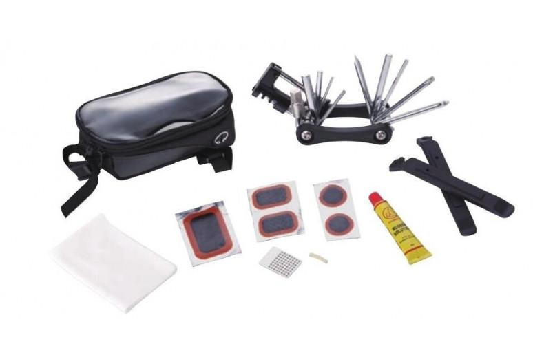 Велосумка на раму, под смартфон, с инструмент. (мультит, лопатки, латки, клей) KL-9812C