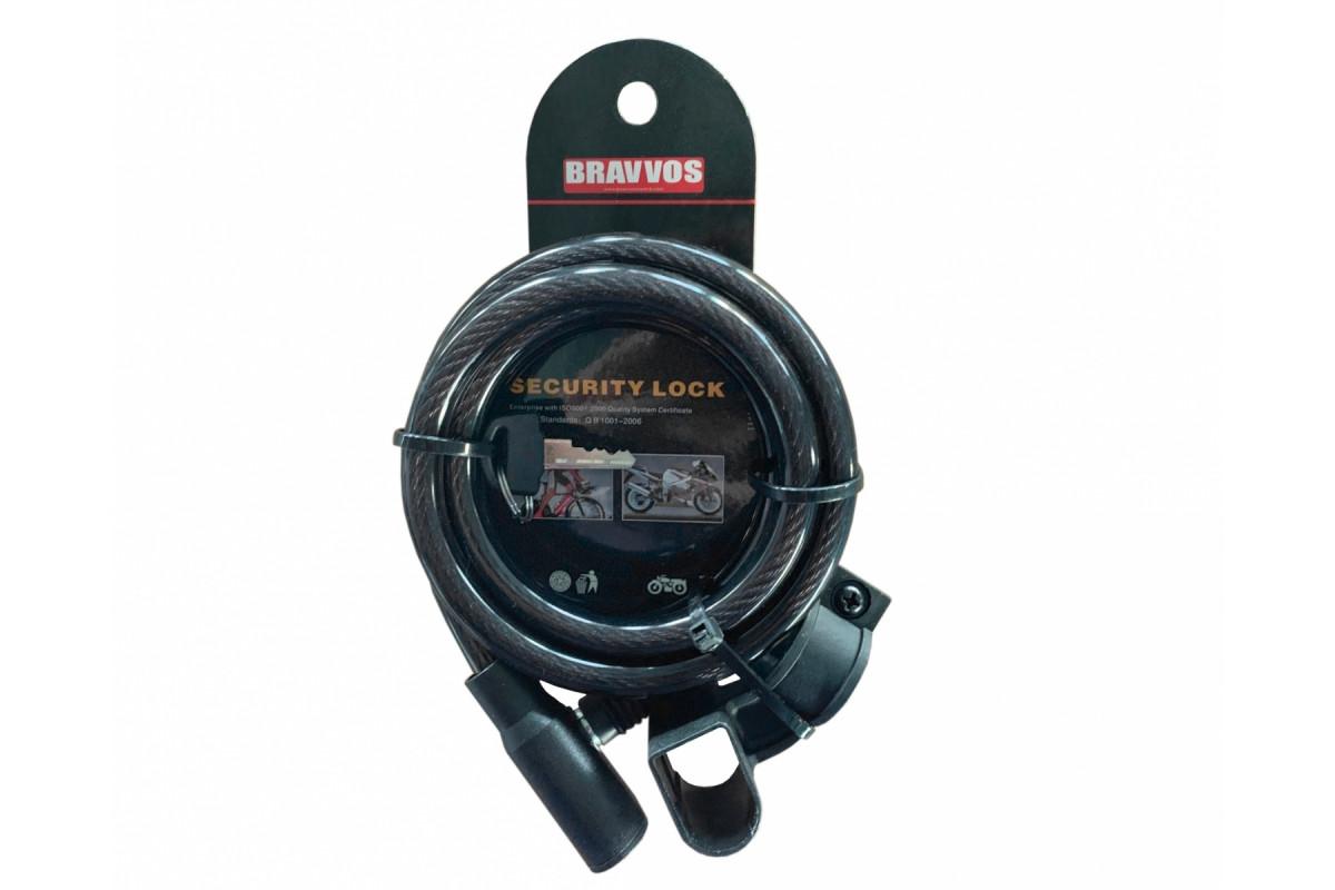 Фото Замок BRAVVOS LOC-045-055 на ключе со стальным тросом 10mmх1500mm черн. с официального сайта OSKAR™