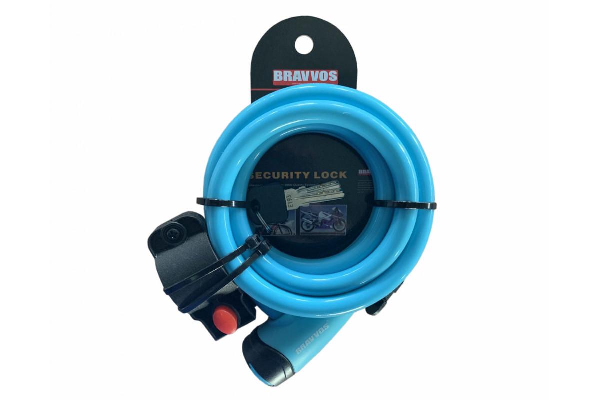 Фото Замок BRAVVOS LOC-065-110 на ключе со стальным тросом 12mmX1500mm голубой с официального сайта OSKAR™