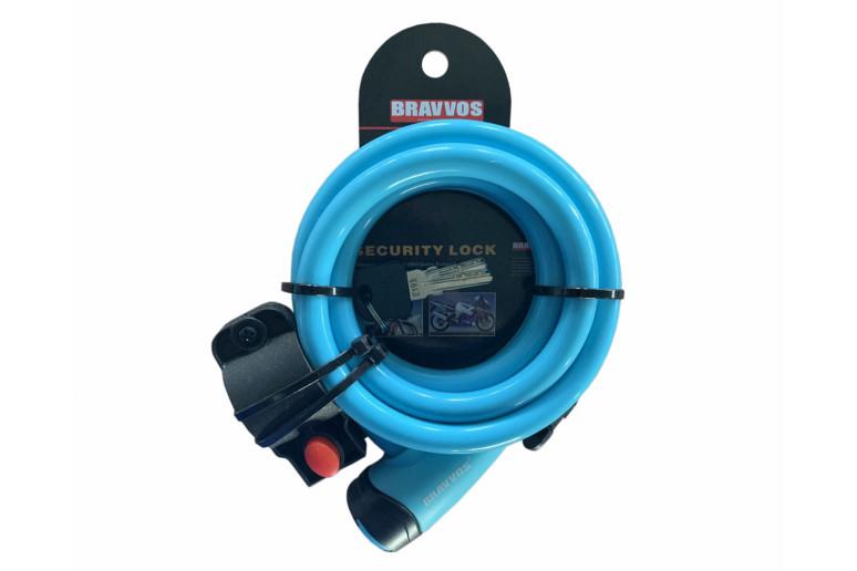 Замок BRAVVOS LOC-065-110 на ключе со стальным тросом 12mmX1500mm голубой