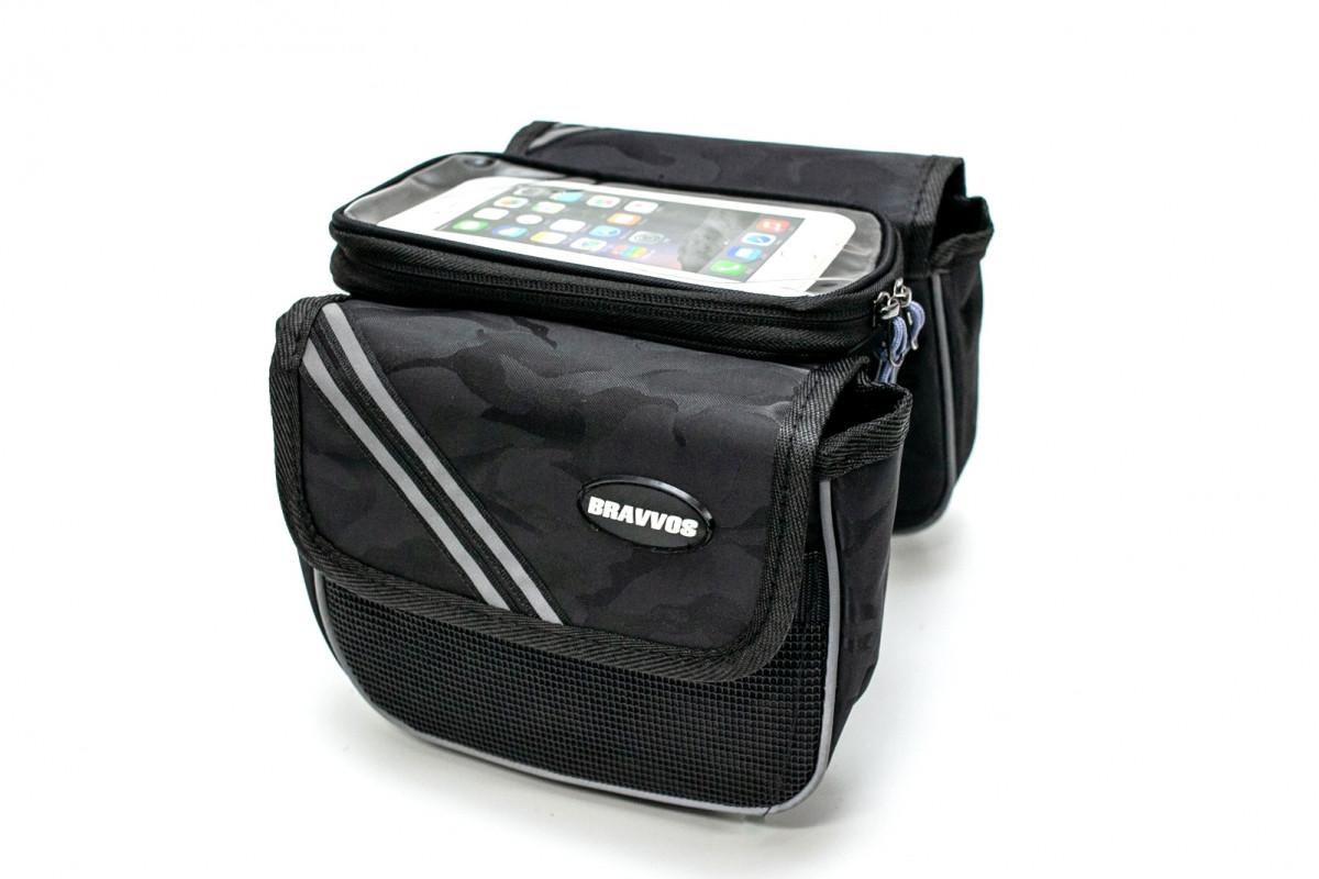 Фото Велосумка на раму, с отделением под смартфон черный камуфляж BRAVVOS QL-200 с официального сайта OSKAR™