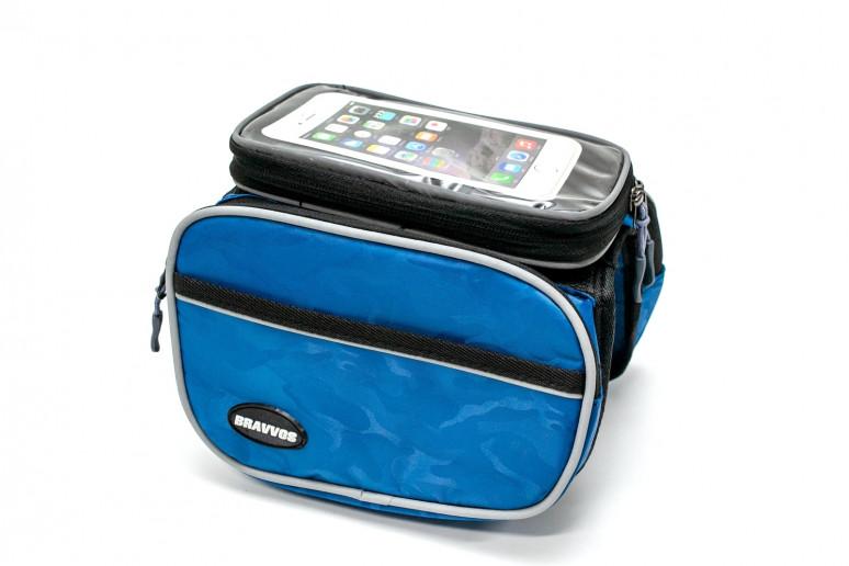 Велосумка на раму, с отделением под смартфон синий с серой полосой BRAVVOS QL-110