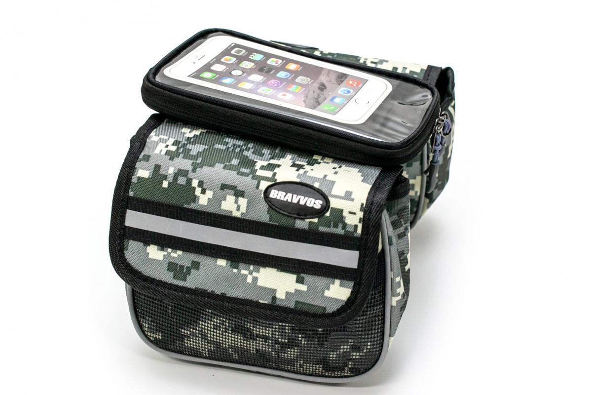 """Фото Велосумка на раму, с отделением под смартфон хаки камуфляж """"пиксель"""" BRAVVOS QL-202 с официального сайта OSKAR™"""
