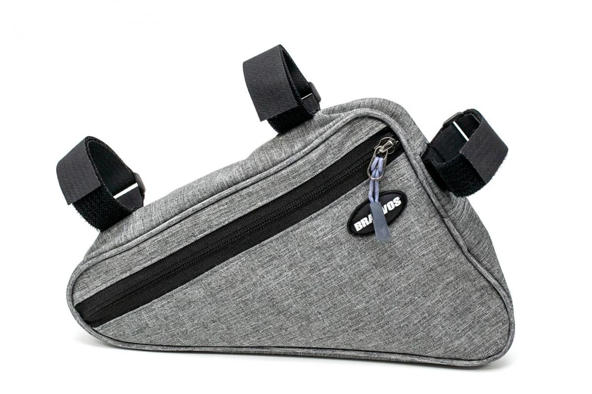 """Фото Велосумка на раму """"треугольник"""" серый BRAVVOS F-089 водоотталк. материал с официального сайта OSKAR™"""