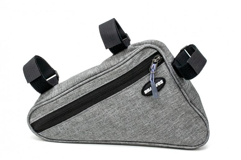 """Велосумка на раму """"треугольник"""" серый BRAVVOS F-089 водоотталк. материал"""