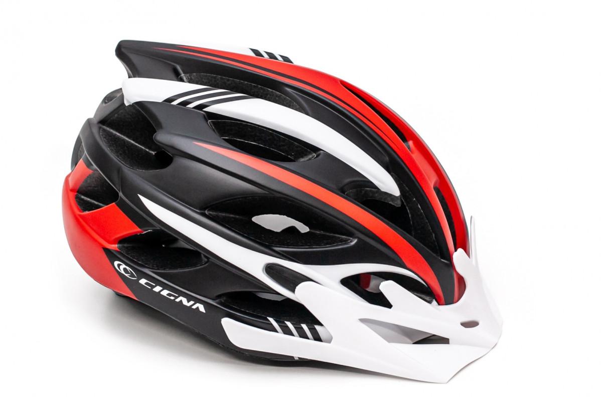 Фото Шлем велосипедный с бел. козырьком СIGNA WT-016 черно-бело-красный с официального сайта OSKAR™