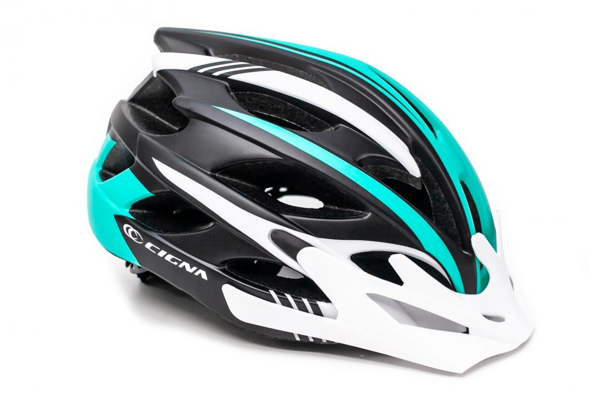 Фото Шлем велосипедный с бел. козырьком СIGNA WT-016 черно-бело-бирюзовый с официального сайта OSKAR™