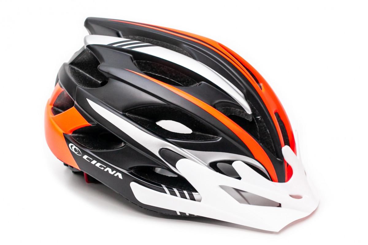 Фото Шлем велосипедный с бел. козырьком СIGNA WT-016 черно-серо-оранжевый с официального сайта OSKAR™
