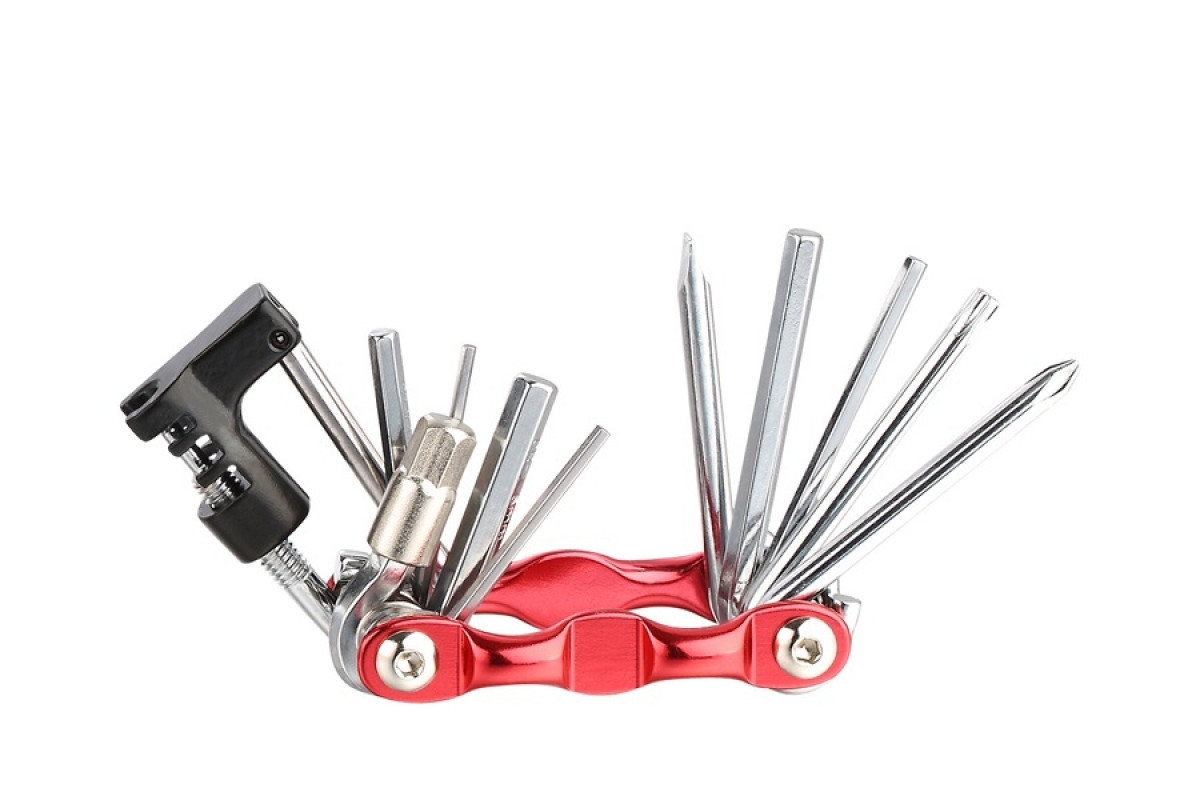 Фото Мультитул KEN TECH KL-9835S красный+ CP 11 функций: шестигранники, отвёртки, выжимка цепи с официального сайта OSKAR™