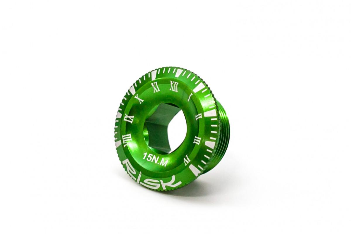 Фото Гайка для шатуна Shimano c интегрир. осью AL М20 зеленый RISK с официального сайта OSKAR™