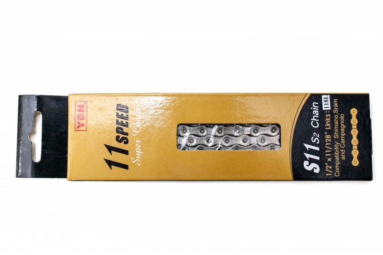 Цепь 11 ск. 118зв. silver/silver YBN S11 с замком