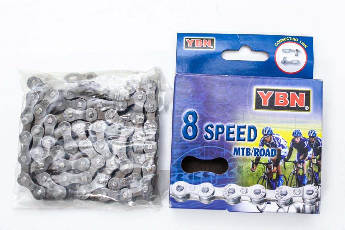 Фото Цепь 8ск. 116зв. gray/gray YBN S8 с замком с официального сайта OSKAR™