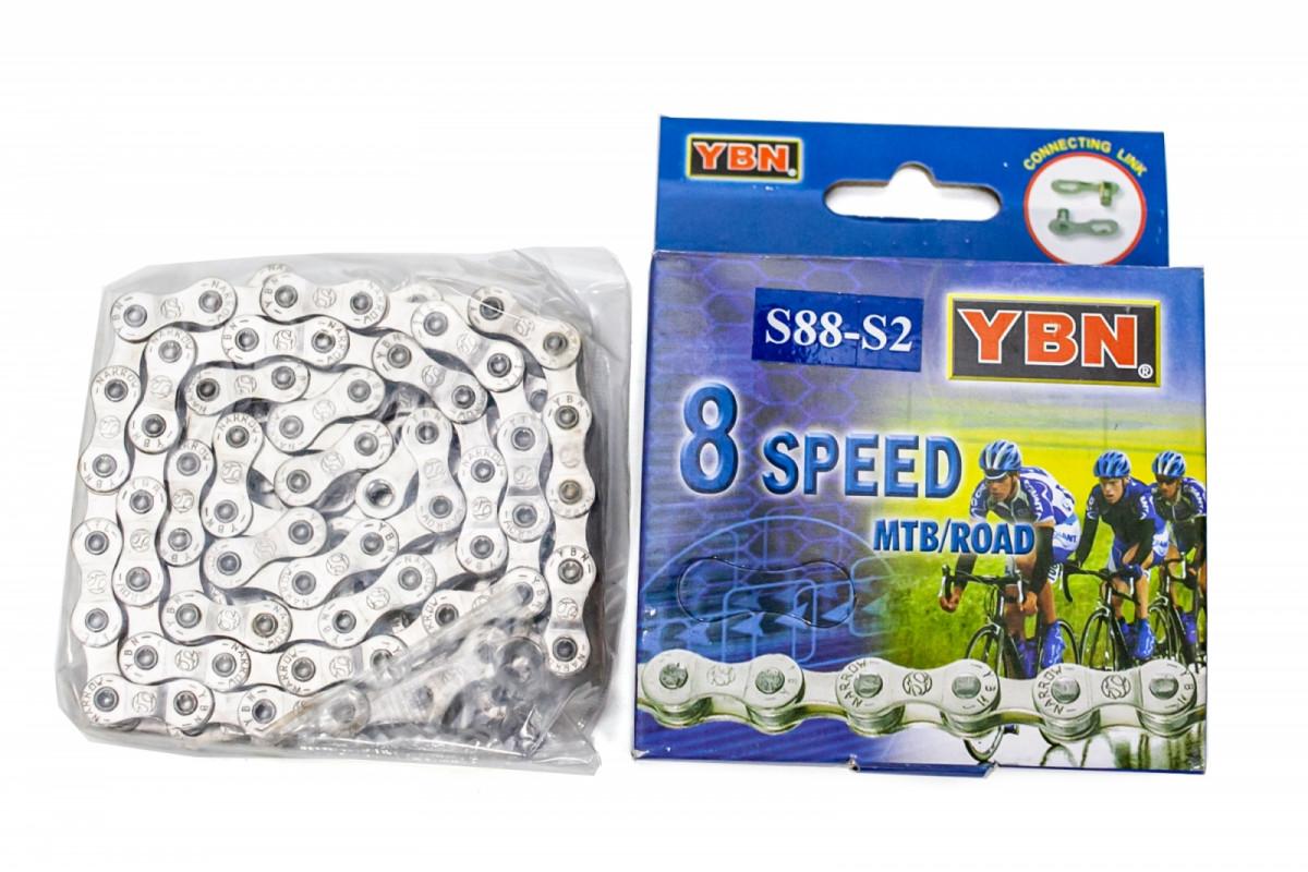 Фото Цепь 8ск. 116зв. silver/silver YBN S88 с замком с официального сайта OSKAR™