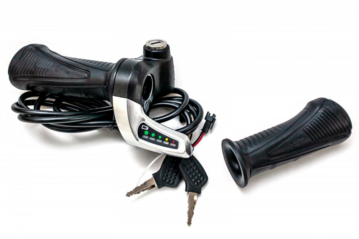 Фото Комплект ручек газа Wuxing 57XDX, c индикацией заряда, кнопка включения, замок, 36В с официального сайта OSKAR™