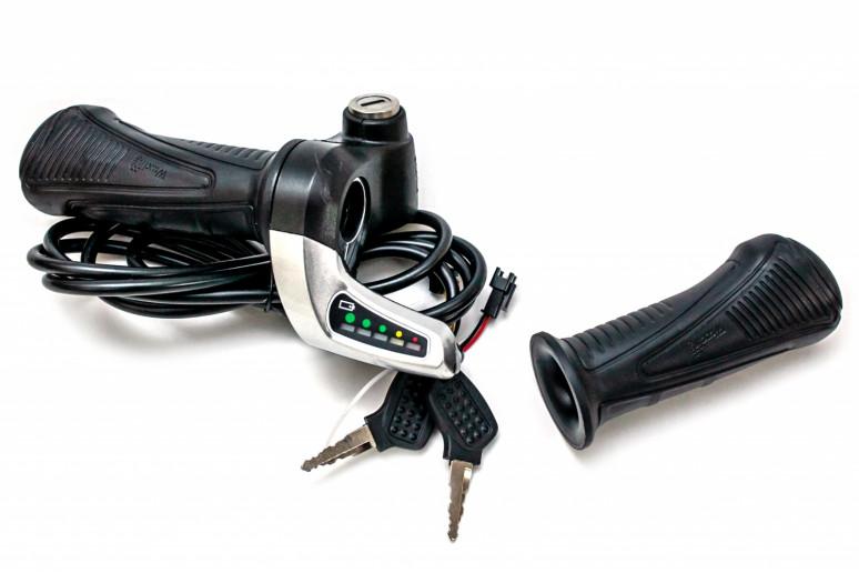 Комплект ручек газа Wuxing 57XDX, c индикацией заряда, кнопка включения, замок, 36В