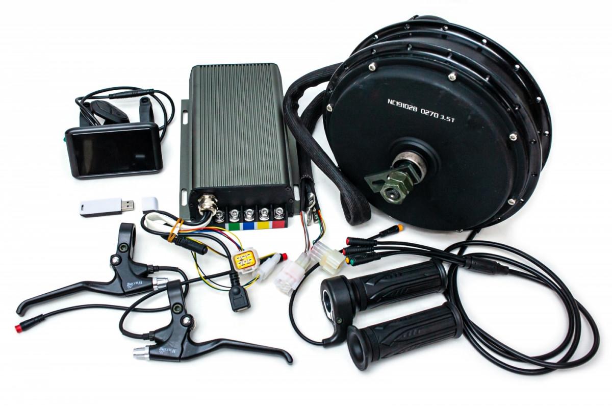 Фото Электрический велонабор мотор-колесо 72В 5000Вт, 72В 80A синусоидный контроллер с беспроводным датчиком, цветной дисплей, ручка газа, тормозные ручки с официального сайта OSKAR™