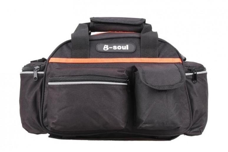 Велосумка на багажник BC-BG163 40*16*21cm 15L черно-оранжевый
