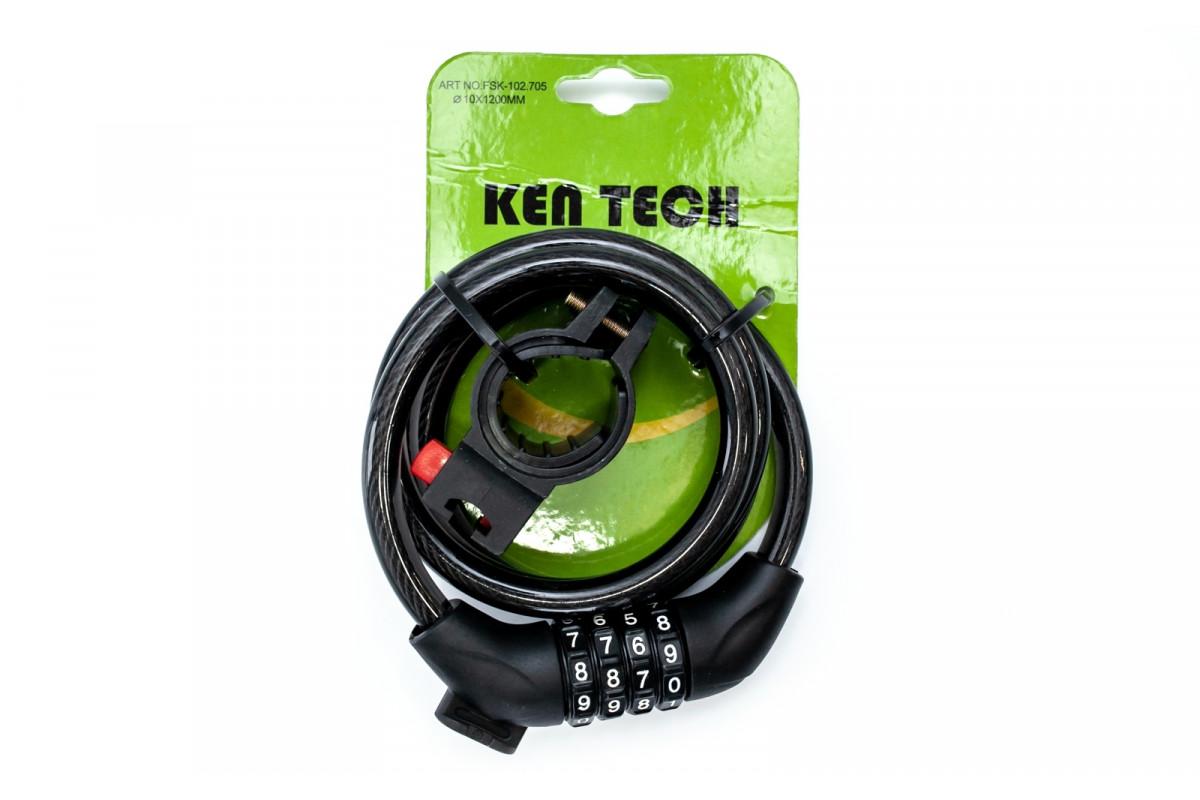 Фото Замок FSK-102.705 кодовый со стальным тросом с крепление на подсед.штырь 10mm*1200mm черный с официального сайта OSKAR™