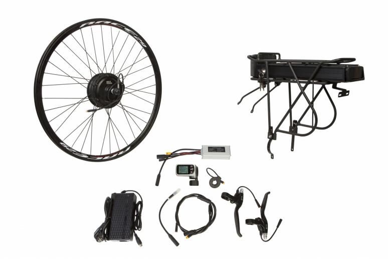 """Электр.велонабор на багажник. Мотор-колесо 24"""" задн. редуктор. 500Вт 48В 12.5Ач 20A контр,ручка газа,диспл,торм.ручки,датчик с-мы асс.пед, заряд.устр."""