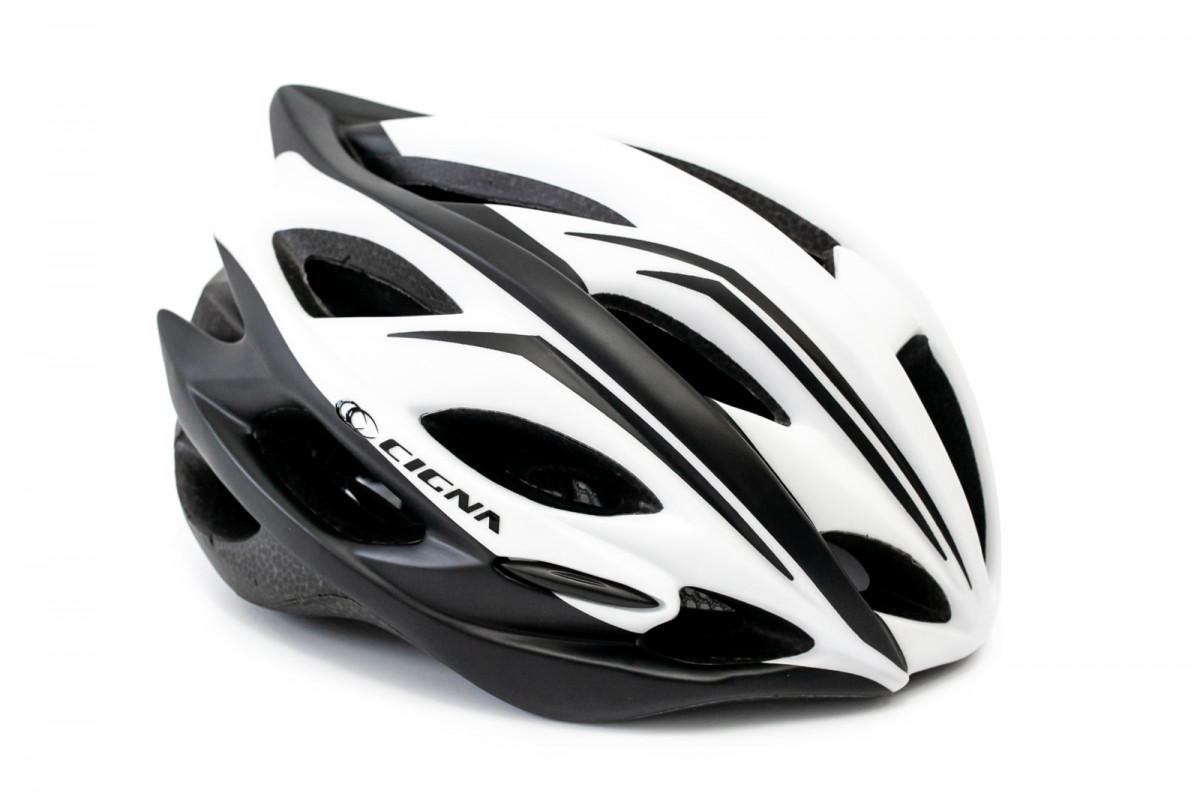 Фото Шлем велосипедный с козырьком CIGNA WT-015 белый с черным с официального сайта OSKAR™