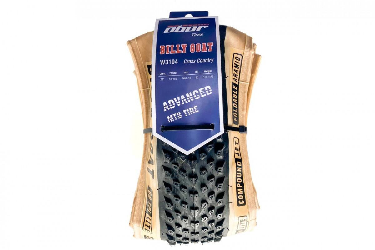 Фото Покрышка складная 26x2.10 OBOR Billy Goat (W3104) Foldable, Jet Compound, 60 TPI (SkinWall (с беж. боковиной)) с официального сайта OSKAR™
